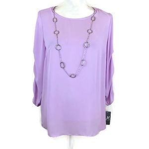 JM Collection purple top w/ necklace